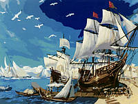 """Картина раскраска по номерам на холсте 40*50 см """"Корабль у берега"""" Munglei"""
