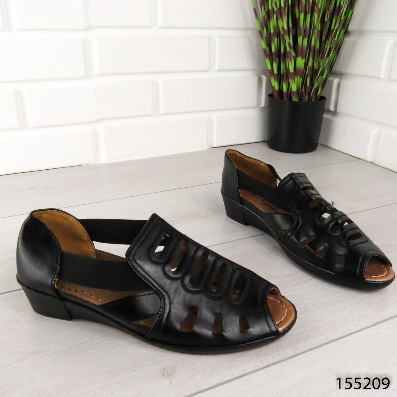 """Босоножки женские, черные """"Expli"""" эко кожа, сабо женские, открытые туфли женские"""