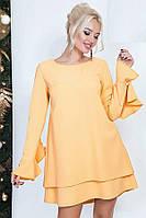 Платье женское свободного кроя с рукавами с воланами, желтое