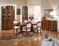 BTC Arcadia Столовая PAOLONA: Витрина, креденс с зеркалом, Угловая витрина, Стол обеденный, Стулья. Натуральное дерево, выбор цвета дерева и ткани.