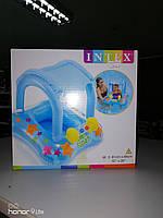 Детский надувной плотик с навесом голубой Intex