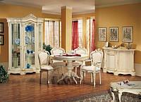 BTC Arcadia Столовая REGINA: Витрина, креденс с зеркалом, круглый стол, стулья, тумба ТВ. Натуральное дерево, выбор цвета.