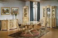 BTC Arcadia толовая REGINA: Витрина, креденс, угловая витрина, тумба ТВ, овальный стол, стулья. Натуральное дерево, выбор цвета.