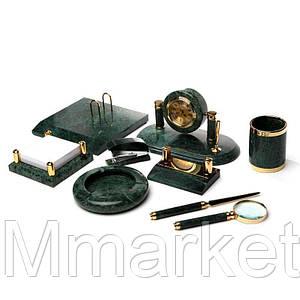 Настольный набор для руководителя BST 170006 37*25 см зелёный Мрамор