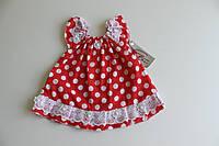 Платье красное горох