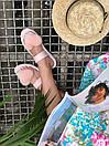Женские модные босоножки с натуральным мехом пудрового цвета, фото 3