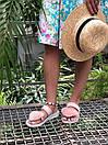 Женские модные босоножки с натуральным мехом пудрового цвета, фото 5