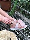 Женские модные босоножки с натуральным мехом пудрового цвета, фото 6