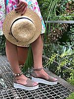 Женские замшевые босоножки на платформе бежевого цвета (+ 9 других вариантов)