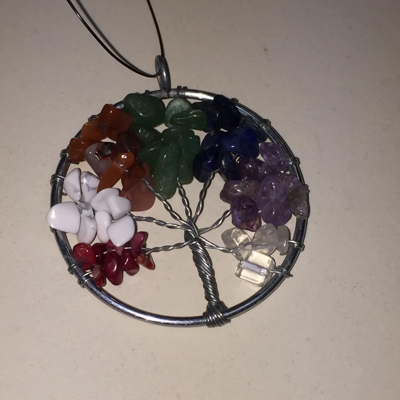 Кулон натуральные мульти-камни в серебре древо жизни