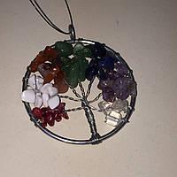 Кулон натуральные мульти-камни в серебре древо жизни, фото 1