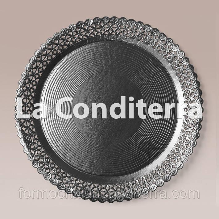 Черные ажурные тарелки Salaet ARIES, круглые d=28 см