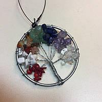 Мульти-камни кулон на удачу натуральные камни древо жизни, фото 1