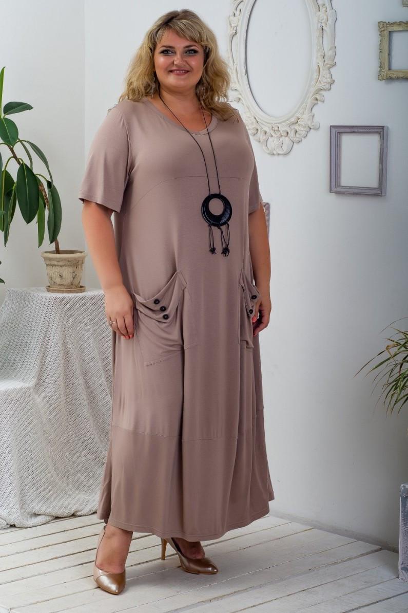 Стильное женское платье Айседора бежевый (58-72)