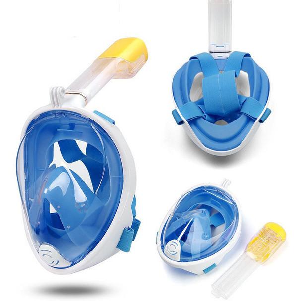 Полнолицевая панорамная маска для плавания UTM FREE BREATH (XS) Голубая с креплением для камеры