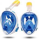 Полнолицевая панорамная маска для плавания UTM FREE BREATH (XS) Голубая с креплением для камеры, фото 3