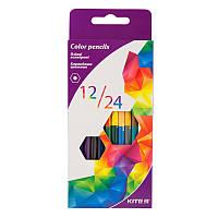"""Карандаши цветные, 12 штук\ 24 цвета, двусторонние """"Геометрия"""", KITE"""