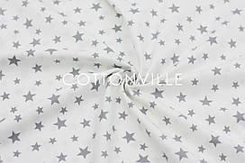 Ранфорс 240 см Зоряна розсип сіра на білому