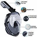 Полнолицевая панорамная маска для плавания UTM FREE BREATH (XS) Черная с креплением для камеры, фото 2