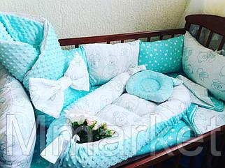 Бортики + кокон + конверт-плед + постельное + ортопедическая подушка для новорожденных