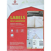 Самоклеящиеся этикетки Optima 4 на листе