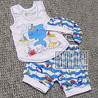 Детский летний костюм 74-80 5-9 мес комплект для мальчика майка шорты и шапочка на лето из КУЛИР 3638 Голубой