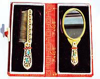 Шикарный набор- зеркало,зеркальце и расческа! Винтаж! Эмаль! Финифть! Клуазоне!