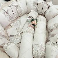 Бортики-защита в кроватку + постельное белье