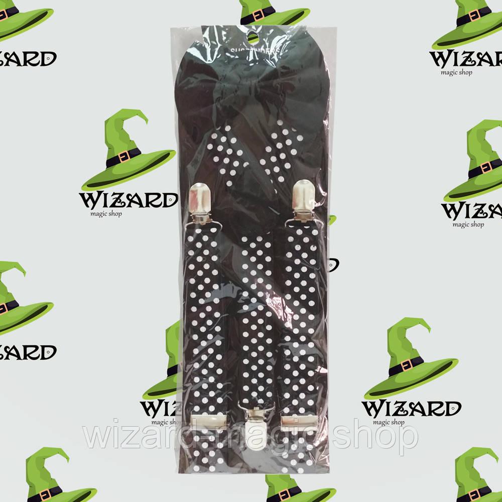 Подтяжки с галстуком черные