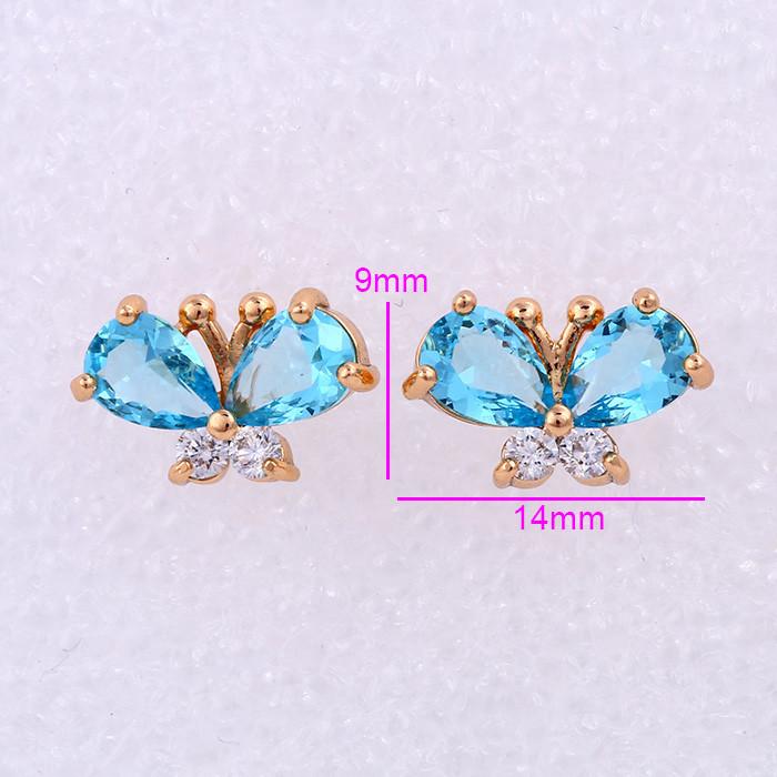 Серьги Бабочка, голубой цирконий