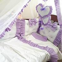 Бортики-защита (4 подушечки) в детскую кроватку + комплект постельного белья