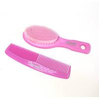 Детский Набор гребешок+щетка для расчесывания волос розовый РМ-2382