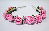 Обруч с розовыми розочками
