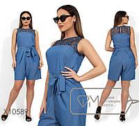 Летний  женский комбез с шортами из летнего джинса  батал с 48 по 54 размер