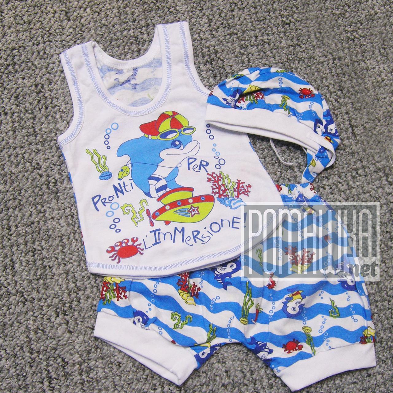 Детский летний костюм 80-86 9-12 мес комплект для мальчика майка шорты и шапочка на лето из КУЛИР 3654 Голубой