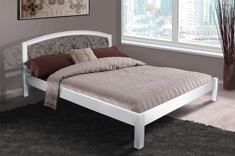 Кровать двуспальная деревянная (массив ольхи) с ковкой  Джульетта Микс мебель, цвет белый