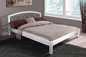 Кровать двуспальная деревянная (массив ольхи) с ковкой  Джульетта Микс мебель, цвет белый, фото 2