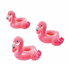 Плаваючий надувний підсклянник Рожевий Фламінго Intex 57500 тримач для напоїв