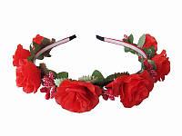 Обруч Красная роза малый (Украинские венки, обручи, заколки)