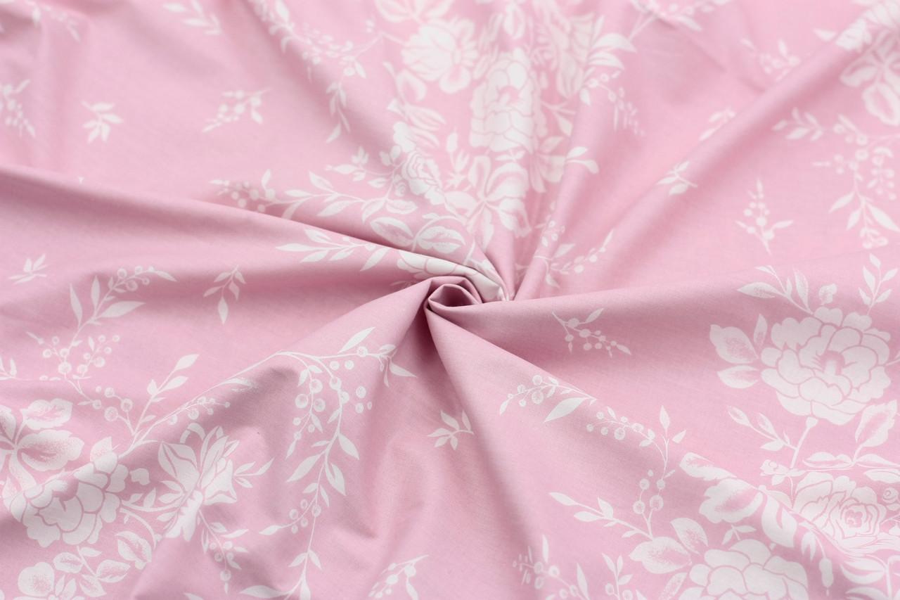 Ранфорс 240 см Розочки белые на розовом
