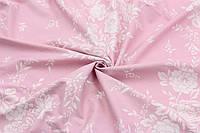 Ранфорс 240 см Розочки белые на розовом, фото 1