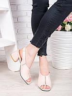 Женские босоножки на маленьком каблуке пудрового цвета натуральная кожа, фото 1
