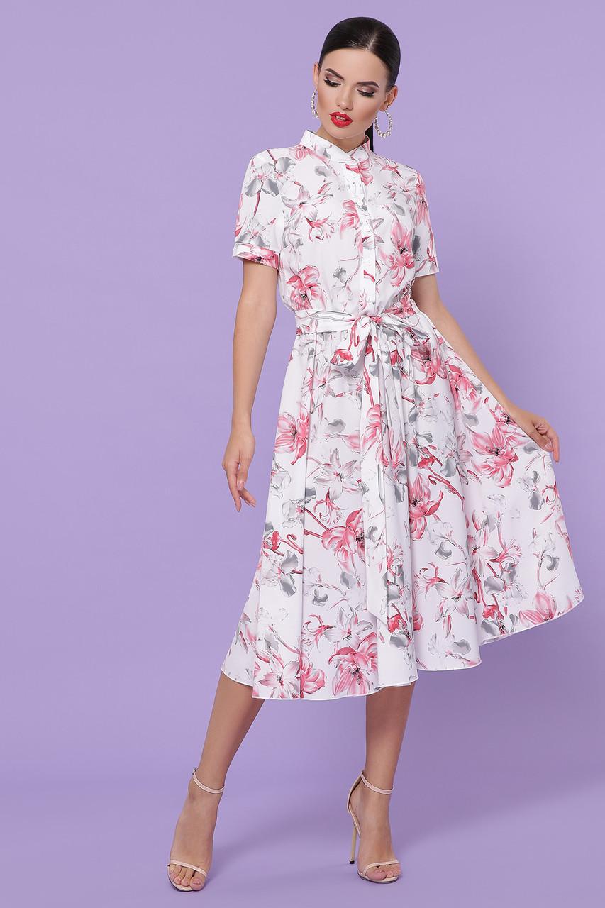 Женское платье белое-крупный цветок Изольда к/р