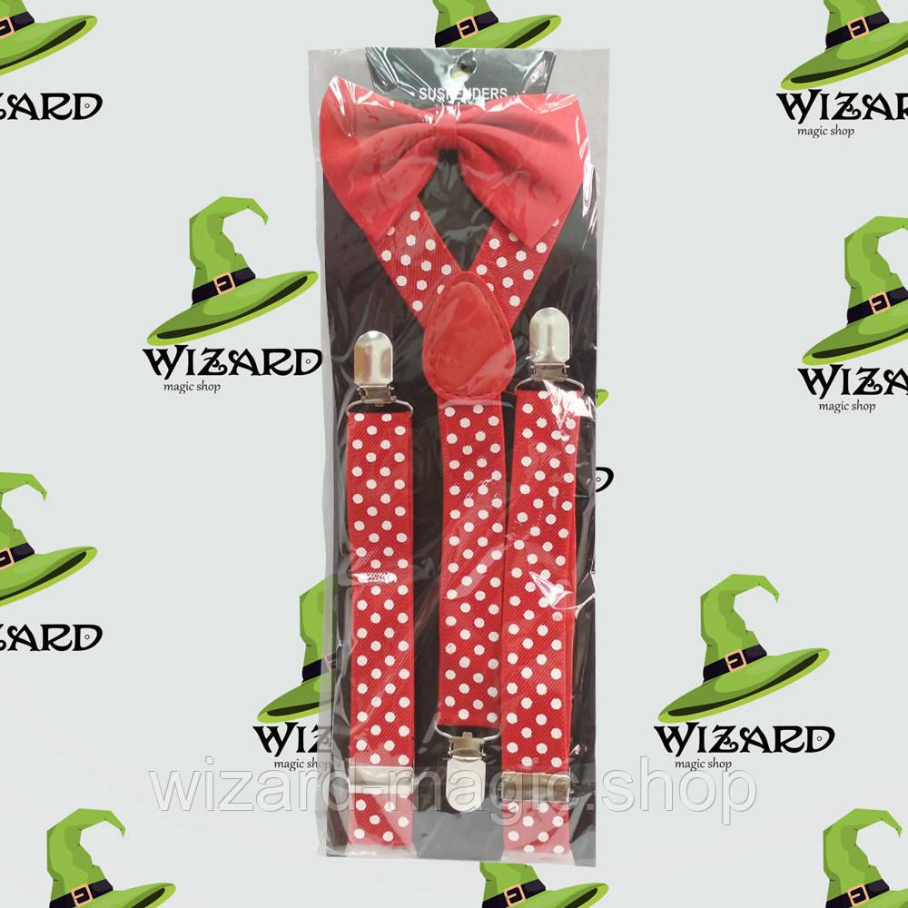 Подтяжки с галстуком красные