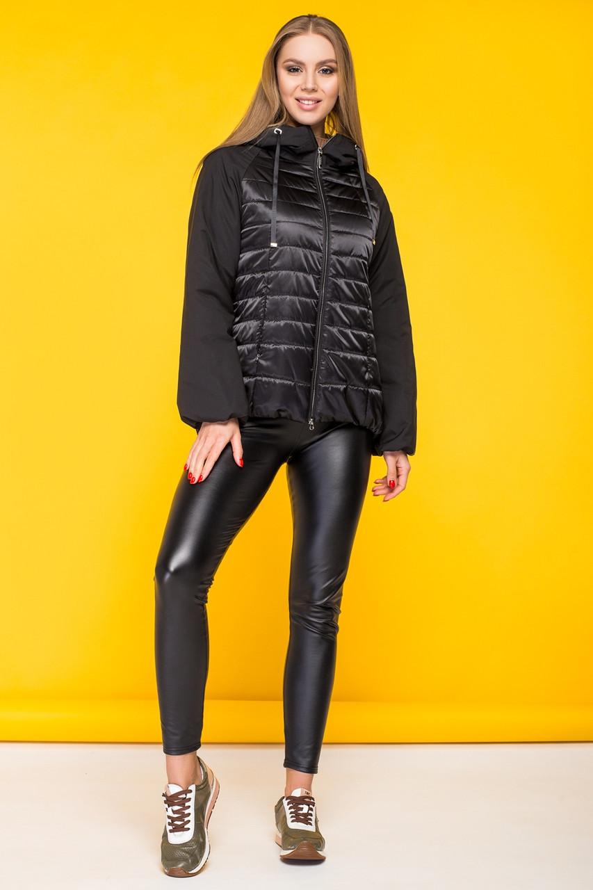 Женская демисезонная куртка KTL-285 с капюшоном черного цвета