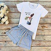 Футболка женская + шорты (женский летний костюм). ТОП качество!!!, фото 1