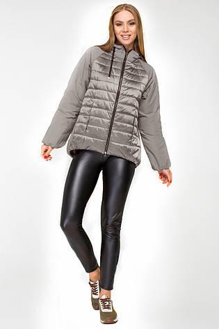 Женская демисезонная куртка KTL-285 с капюшоном серого цвета 50 размер, фото 2