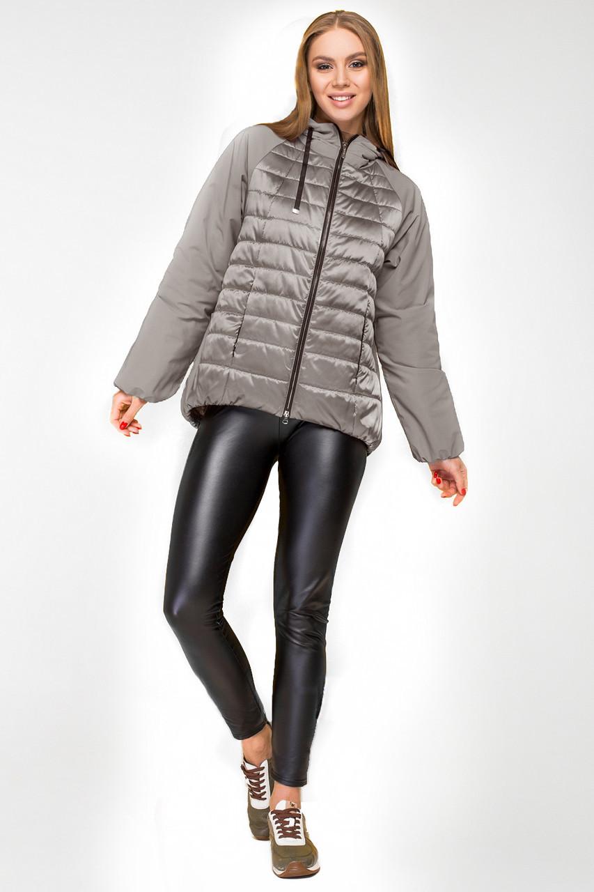 Женская демисезонная куртка KTL-285 с капюшоном серого цвета 50 размер