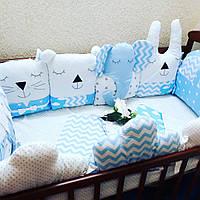 Бортики в кроватку + комплект постельного белья
