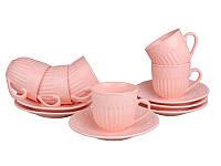 Сервиз чайный фарфоровый 12 пр. Ажур Lefard 250 мл., набор чашек с блюдцами, сервиз розовый
